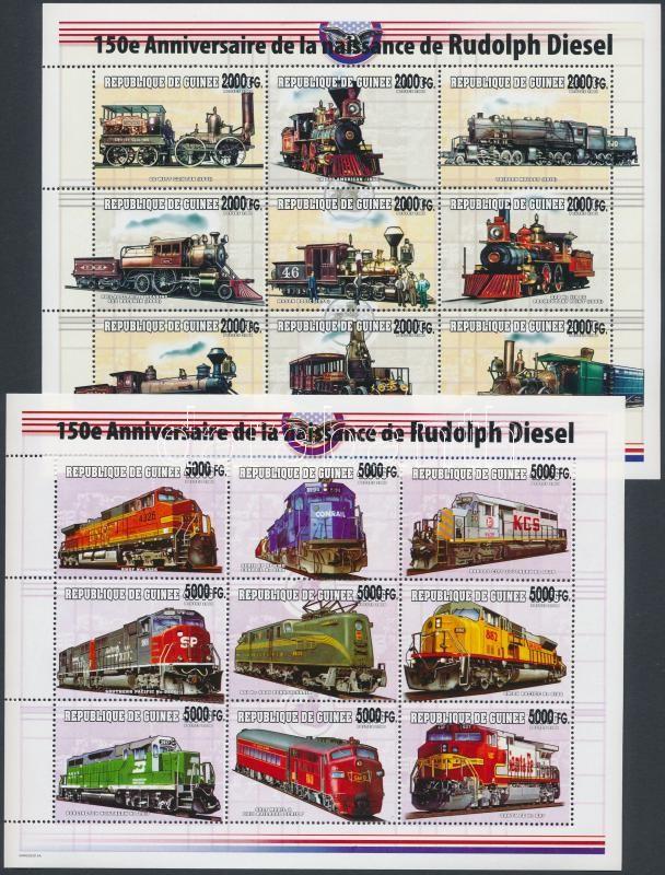 Locomotives overprinted mini sheet set, Mozdonyok felülnyomott kisívsor