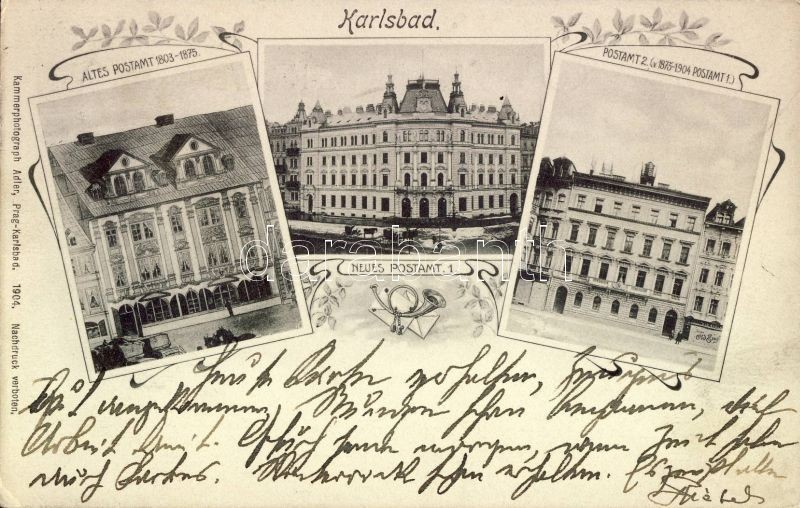 Karlovy Vary, Karlsbad; Altes und Neues Postamt / old and new post office, post horn, letters Art Nouveau