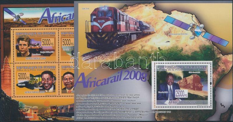 Pan-African railway network minisheet  + block, Pán-afrikai vasúti hálózat kisív + blokk