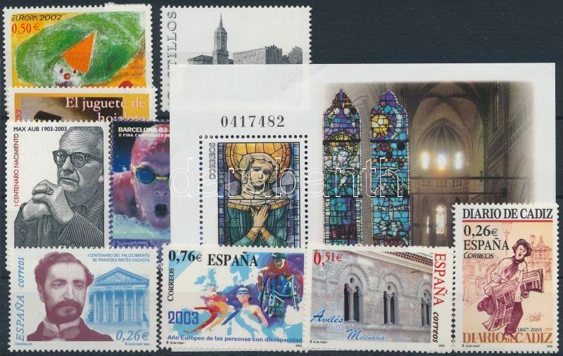 2002-2003 9 stamps + 1 block, 2002-2003 9 klf bélyeg + 1 db blokk