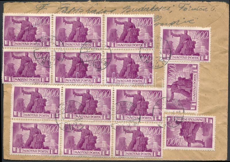 Inflation cover, (7.díjszabás) Levél Belgiumba Újjáépítés 15x1000P bérmentesítéssel / Cover to Belgium with 15 stamps