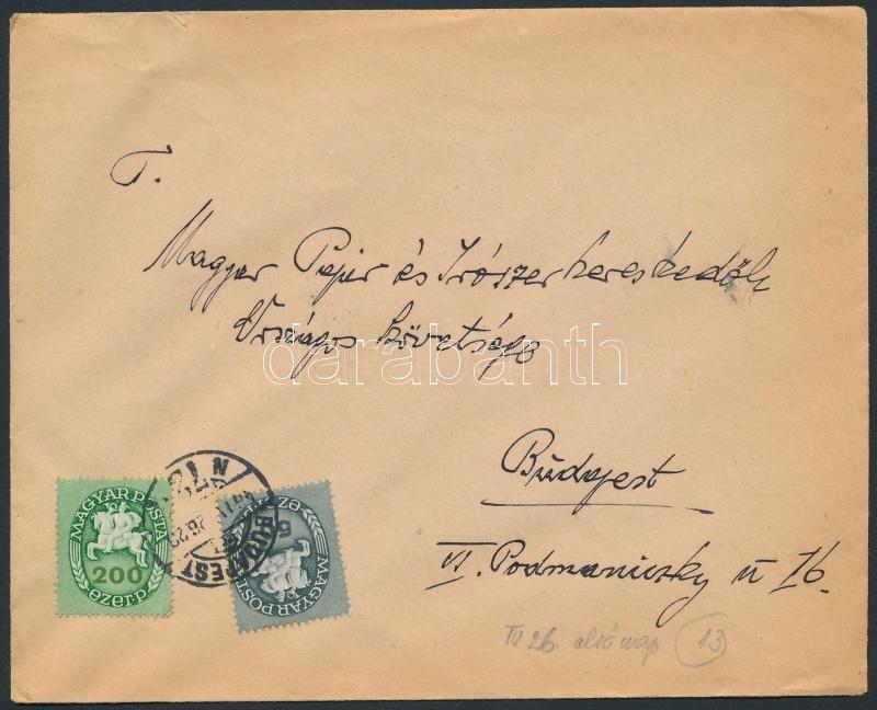 Inflation cover, (13.díjszabás)Helyi levél Lovasfutár 50eP + 200eP bérmentesítéssel