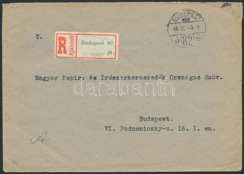 Inflation cover, (8.díjszabás) Ajánlott helyi levél Betűs Cs.5-2. ívszéli ötöscsíkkal bérmentesítve