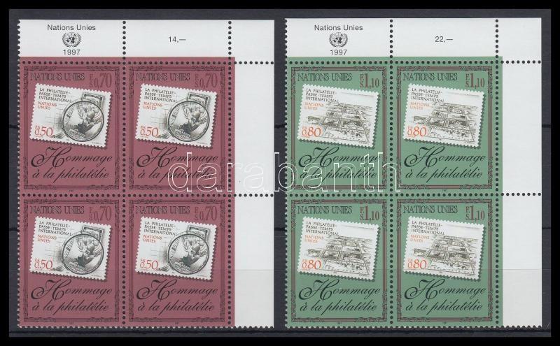 Stamp Collecting set in corner blocks of 4, Bélyeggyűjtés tiszteletére sor ívsarki négyestömbökben