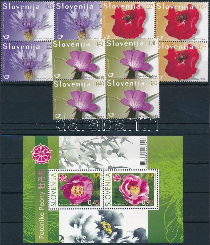 Wild flowers set blocks of 4 + block, Mezei virágok sor négyes tömbökben + blokk