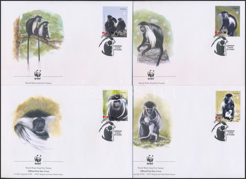 WWF Monkies set 4 FDC, WWF: Majmok sor 4 db FDC-n