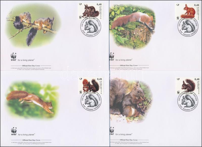 WWF Squirrels set 4 FDC, WWF: Mókusok sor 4 db FDC-n