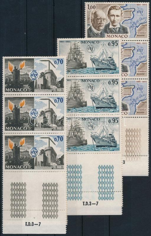 Space research closing stamps in folded margin stripes of 6, Űrkutatás sor záróértékei hajtott ívszéli hatoscsíkokban