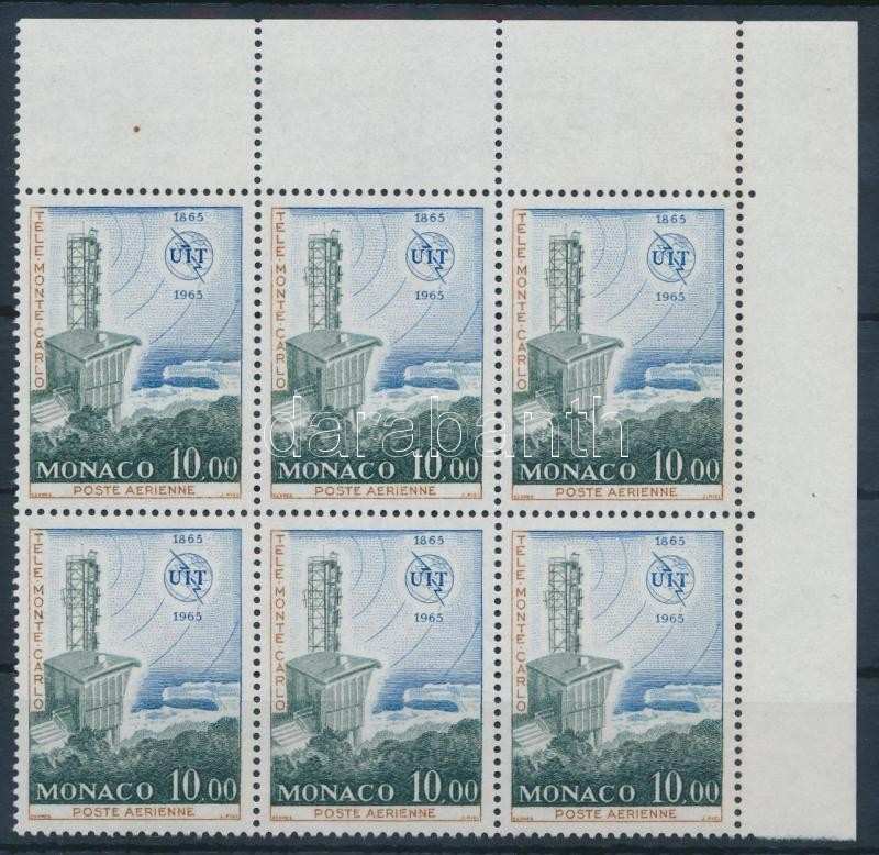 Space research closing stamps in block of 6, Űrkutatás sor záróértéke ívsarki hatostömbben
