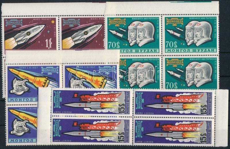 Űrkutatás sor 4 értéke ívszéli négyestömbökben (hiányzik/missing Mi 325), Space research 4 stamps in margin blocks of 4