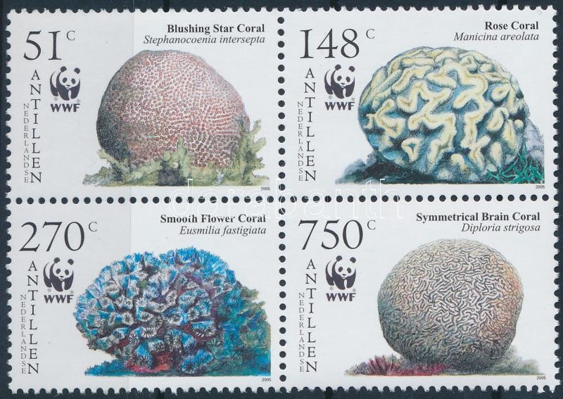 WWF Corals block of 4, WWF: Korallok négyestömb