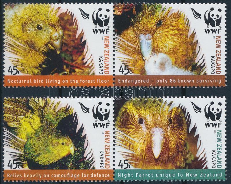 WWF Kakapo (parrot owl) set + set 4 FDC, WWF: Kakapó (bagolypapagáj) sor + sor 4 db FDC-n