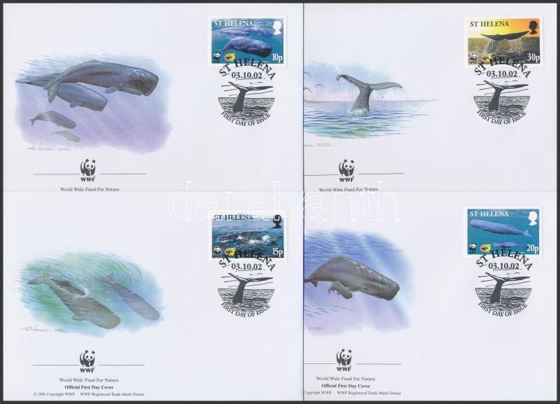 WWF Sperm whale set  4 FDC, WWF Ámbrás cet sor 4 db FDC-n