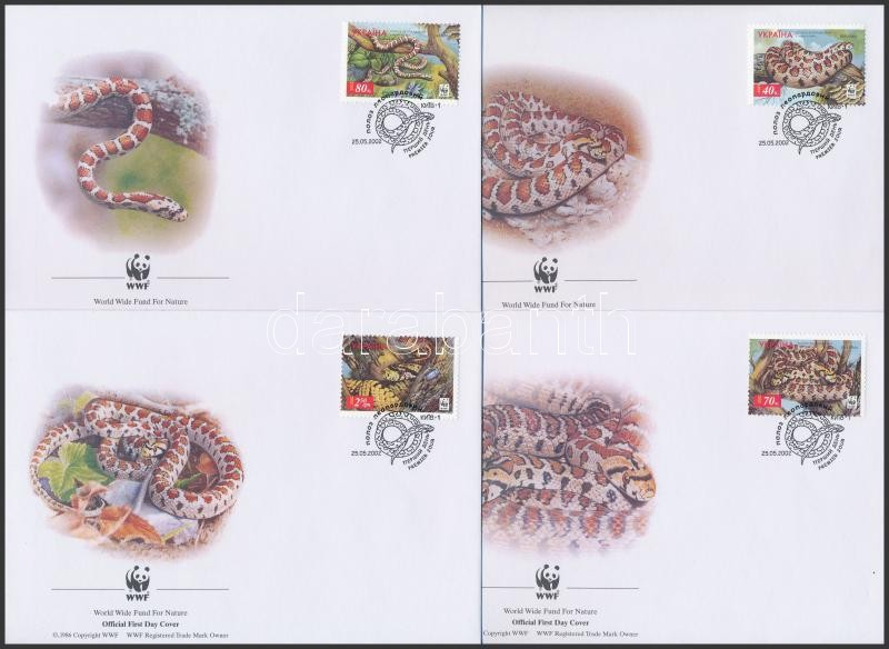 WWF Leopard snake set 4 FDC, WWF leopárdsikló sor 4 db FDC-n