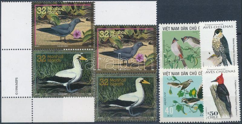 1973-2000 Birds 8 stamps, 1973-2000 Madár motívum 8 db bélyeg, közte párok