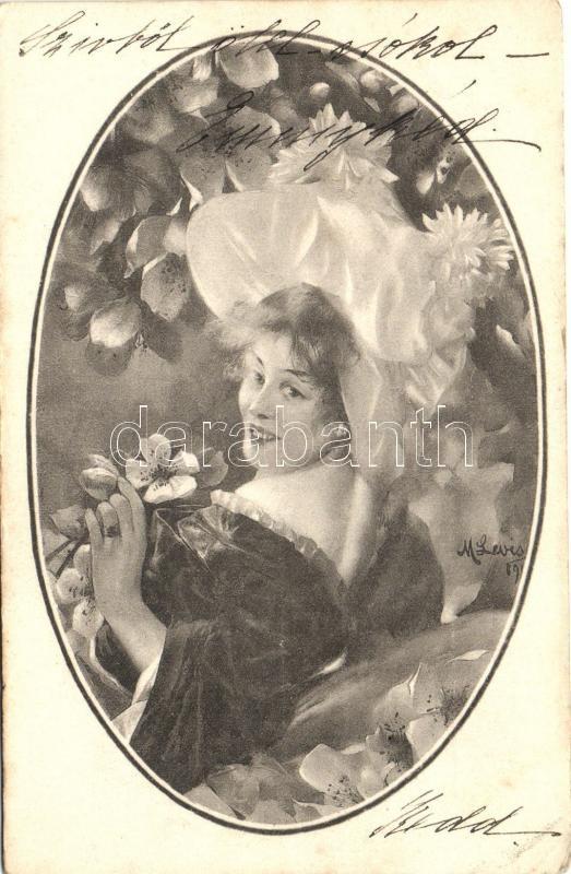 Lady with flowers, s: M. Levis, Hölgy virágok között, s: M. Levis