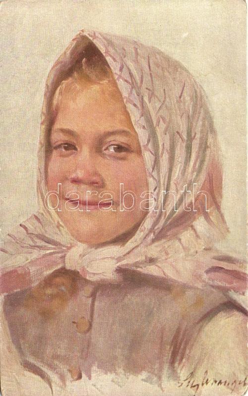 Grete, Paul Heckscher No. 297. s: Lily Wrangel, Lány kendővel, Paul Heckscher No. 297. s: Lily Wrangel