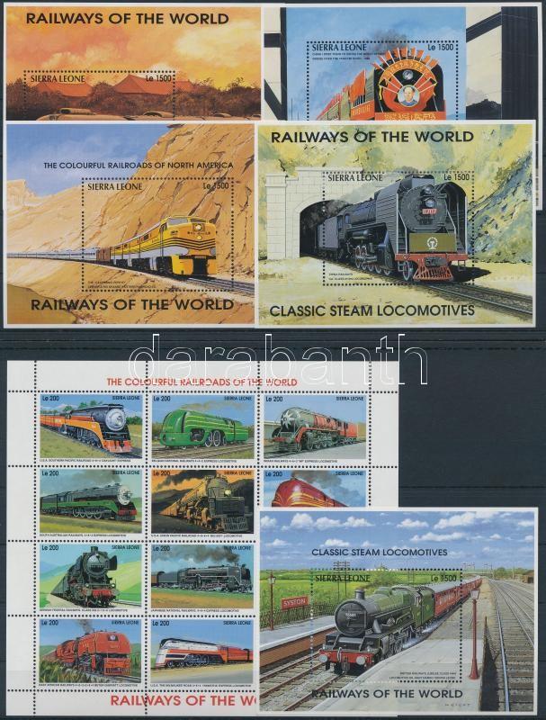 Trains mini sheet set + blockset, Vonatok a világ minden tájáról kisívsor + blokksor