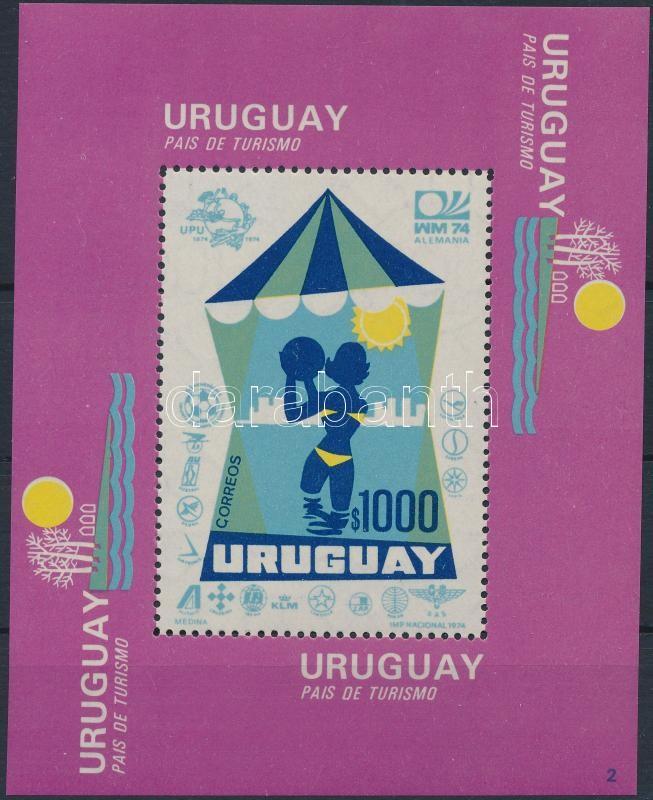 Uruguay - a country of tourism block with football WC and UPU logo, Uruguay - a turizmus országa blokk rajta labdarúgó VB- és UPU-embléma