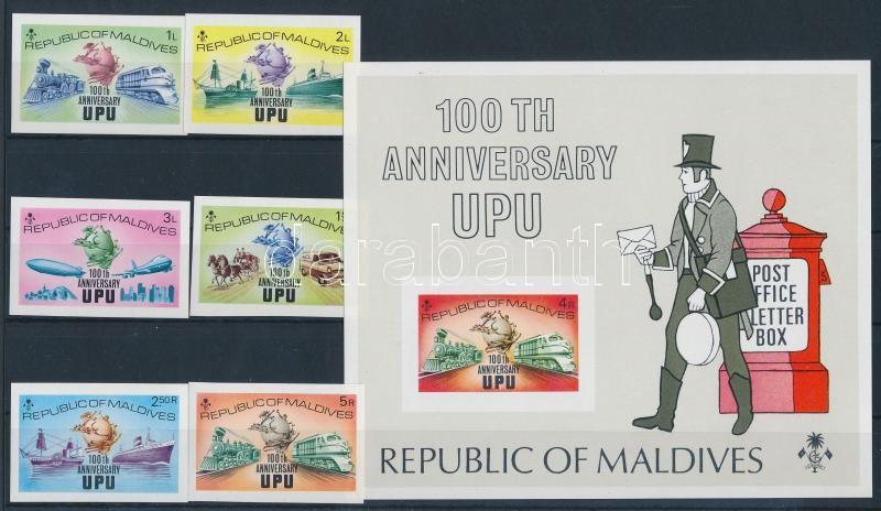 UPU centenary set + block, 100 éves az UPU sor + blokk