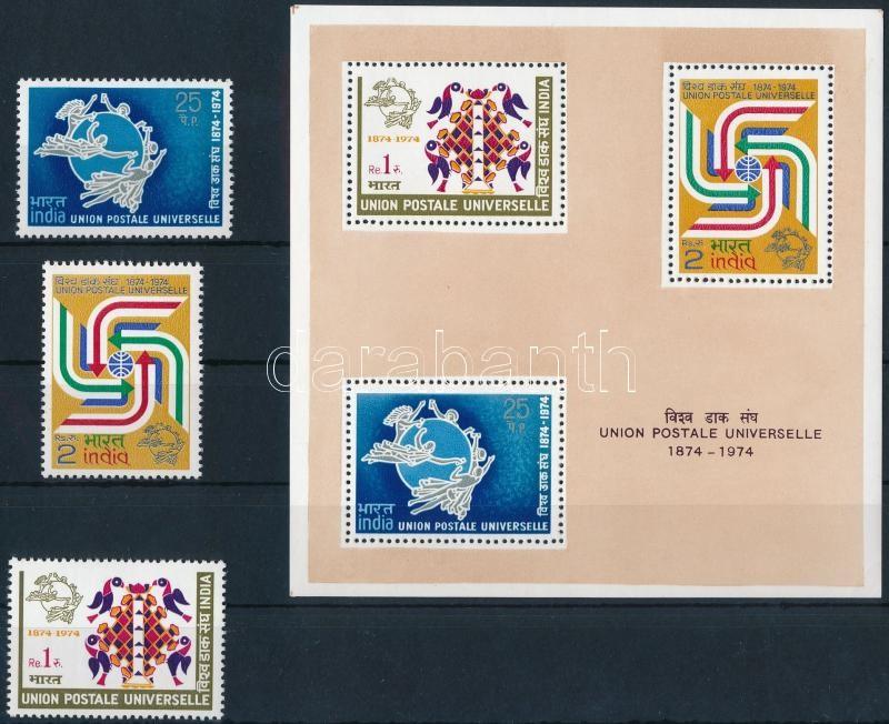 Centenary of UPU set + block (corner damage on the block), 100 éves az UPU sor + blokk (blokkon kis saroktörés)