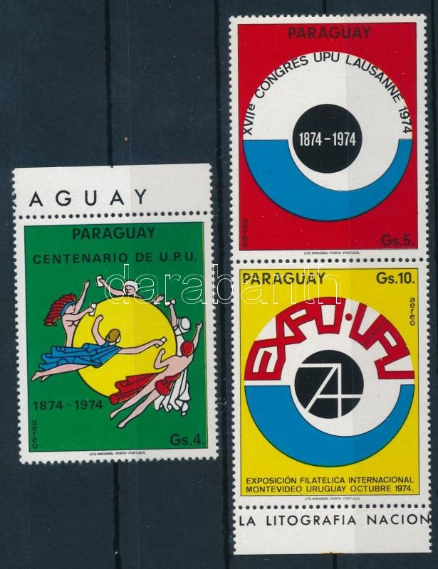 Centenary of UPU margin set with pair, 100 éves az UPU ívszéli sor párral