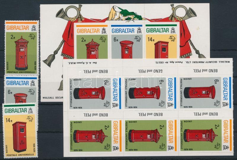 Centenary of UPU set + 2 stamp-booklet sheet, 100 éves az UPU sor + 2 klf bélyegfüzetlap