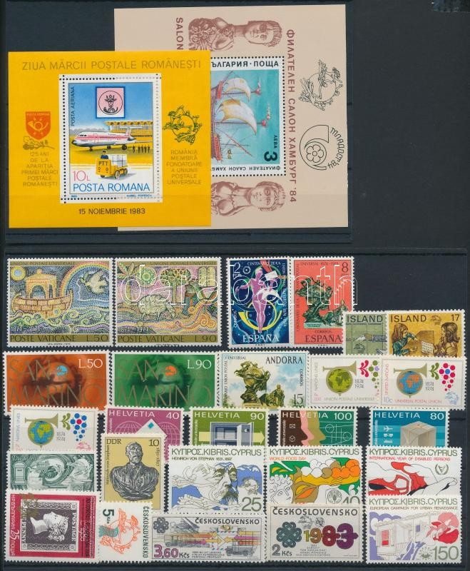 UPU 1974-1984 26 stamps + 2 blocks, UPU 1974-1984 26 klf bélyeg + 2 klf blokk
