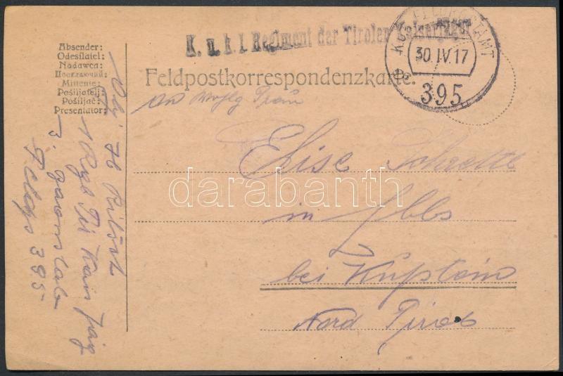 "Field postcard ""K.u.k. I. Regiment der Tirolen Kaiserjäger"" + ""FP 395 a"", Tábori posta levelezőlap ""K.u.k. I. Regiment der Tirolen Kaiserjäger"" + ""FP 395 a"""