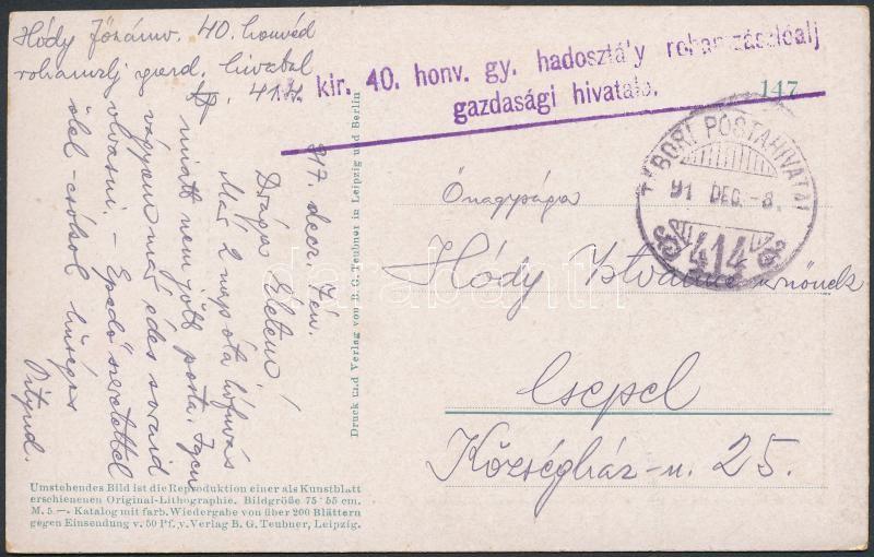 """Field postcard """"M.kir 40. honv. gy. hadosztály rohamzászlóalj gazdasági hivatala"""" + """"TP 414"""", Tábori posta képeslap """"M.kir 40. honv. gy. hadosztály rohamzászlóalj gazdasági hivatala"""" + """"TP 414"""""""