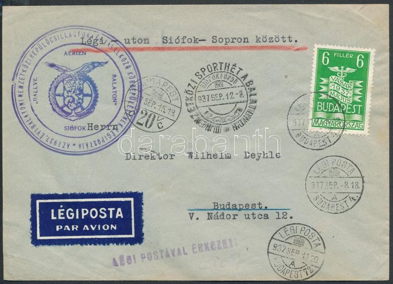 "Airmail cover + III. NEMZETKÖZI SPORTHÉT A BALATONON"" occasional cancellation, ;Balatoni csillagtúra légi levél Siófok - Budapest + ""III. NEMZETKÖZI SPORTHÉT A BALATONON"" alkalmi bélyegzés"