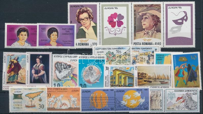 Europa CEPT 1995-1998 17 stamps + stripe of 4, Europa CEPT motívum 1995-1998 17 klf bélyeg + négyescsík