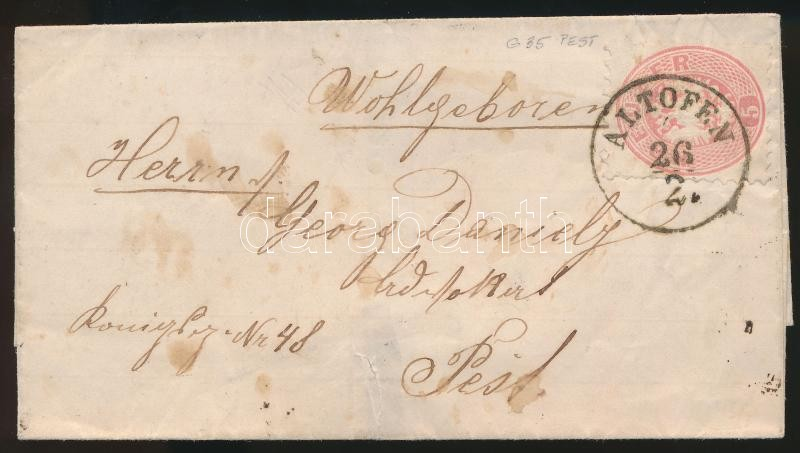 ~1865 5kr on cover