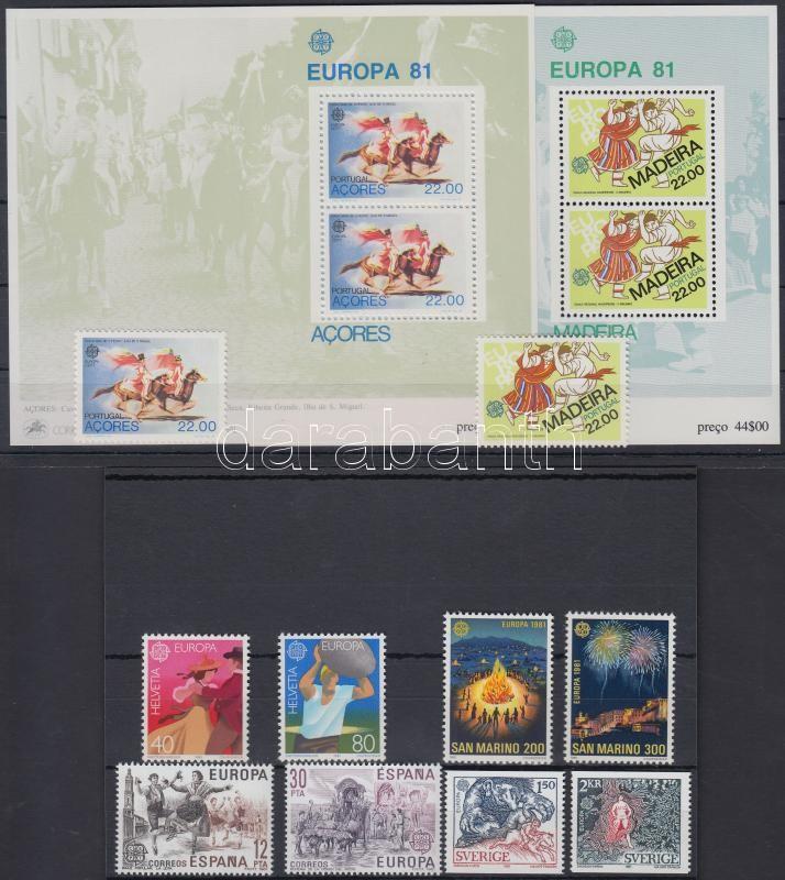 Europa CEPT Folklore 6 issues + 2 blocks, Europa CEPT Folklór 6 klf kiadás + 2 db blokk 2 stecklapon