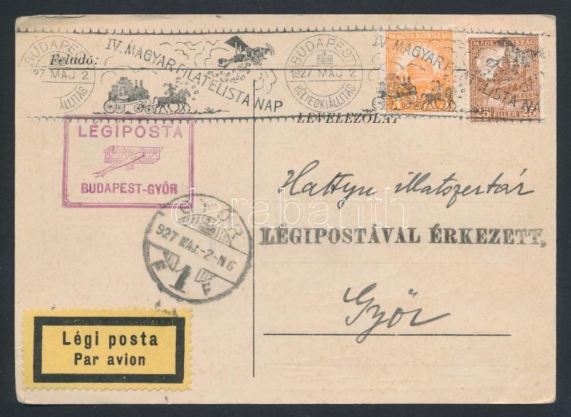 Airmail card, IV. Magyar Filatelista Nap Budapest - Győr légi levelezőlap