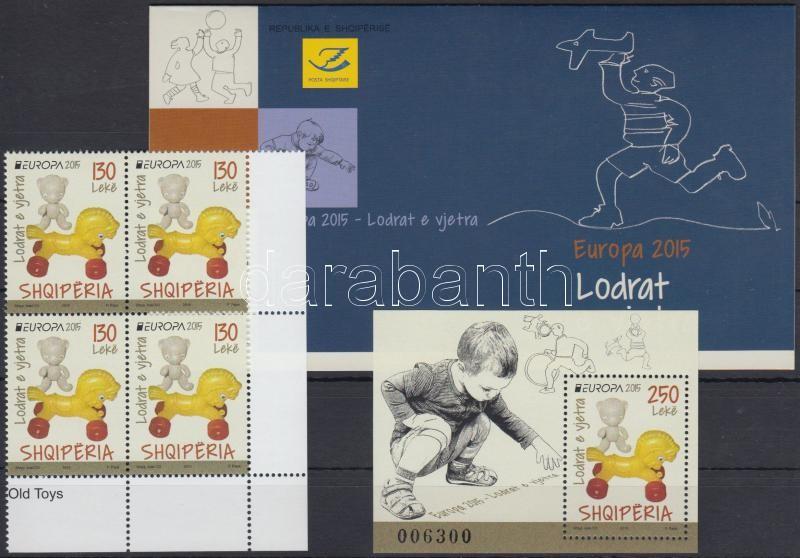 Europa CEPT, Historical Games coner block of 4 + block + stamp-booklet, Europa CEPT, Történelmi játékok ívsarki 4-es tömb + blokk + bélyegfüzet
