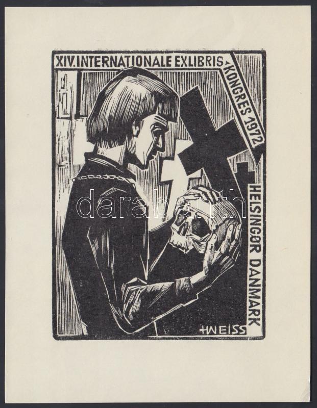 Helfried Weiss (1911-2007): Ex libris Kongres 1972. Fametszet, papír, jelzett a dúcon, 9,5×7 cm