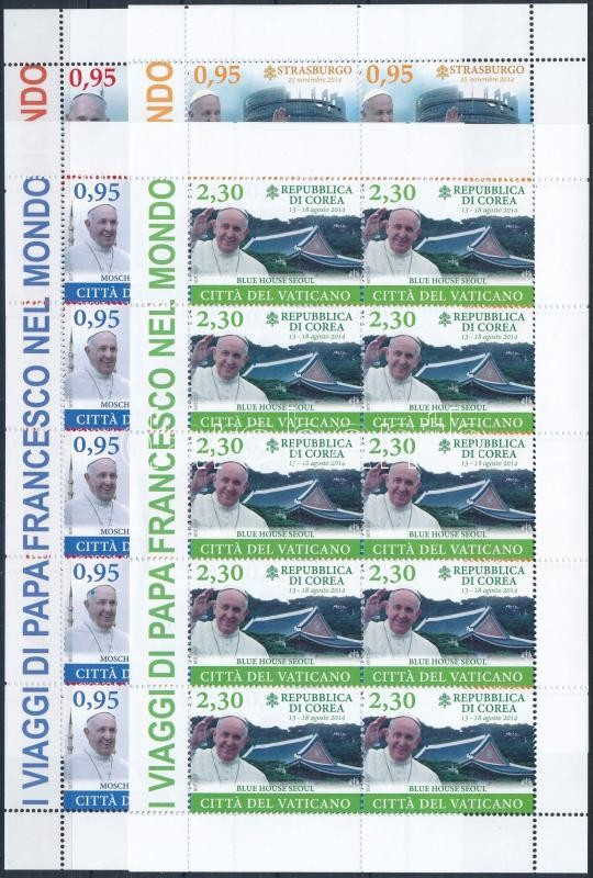 Papal Travel mini sheet set, A pápa utazása kisív sor