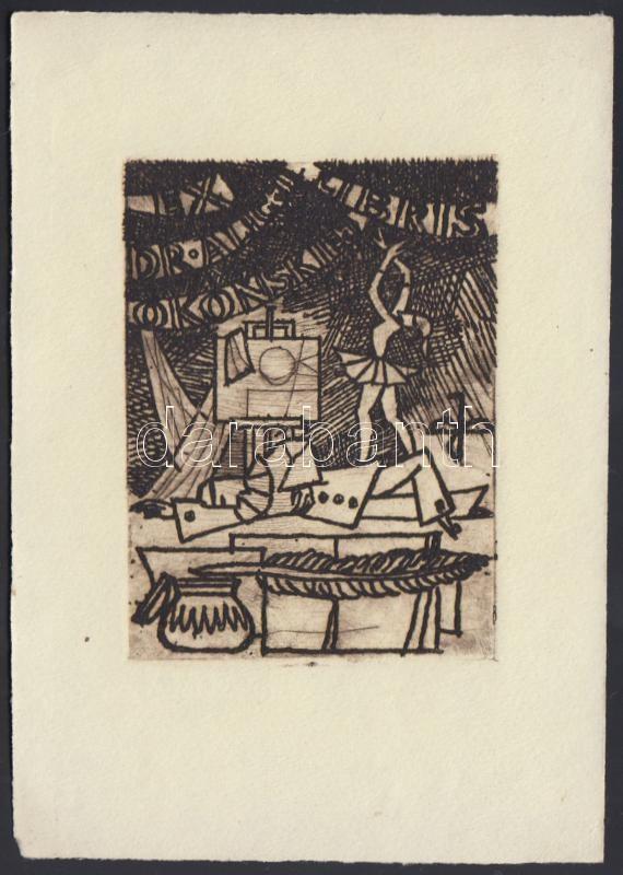 Benedyktowicz Janusz (1918-2001): Ex libris. Rézkarc. Jelzett a dúcon. / Polish bookplate. Engraving, signed on the print. 10x13 cm