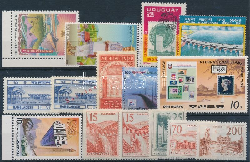 Épületek motívum 1924-2008 15 klf bélyeg + 1 blokk, Buildings 1924-2008 15 diff stamps + 1 block