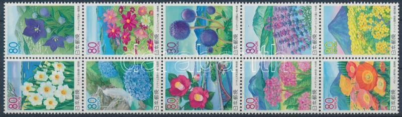 Kyushu island landscape set in block of 10, Kyushu szigetének tájai és virágai sor tízestömbben