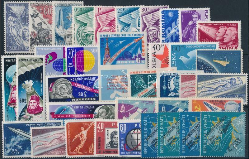 1959-1962 Space Research 37 stamps, 1959-1962 Űrkutatás motívum 37 db bélyeg, közte teljes sorok