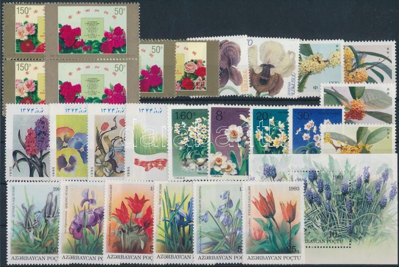 1990-1997 Flower 26 stamps + block, 1990-1997 Virág motívum 26 klf bélyeg + blokk