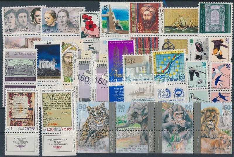 21 diff stamps with tab + stripe of 4, 21 klf tabos bélyeg + 4-es csík