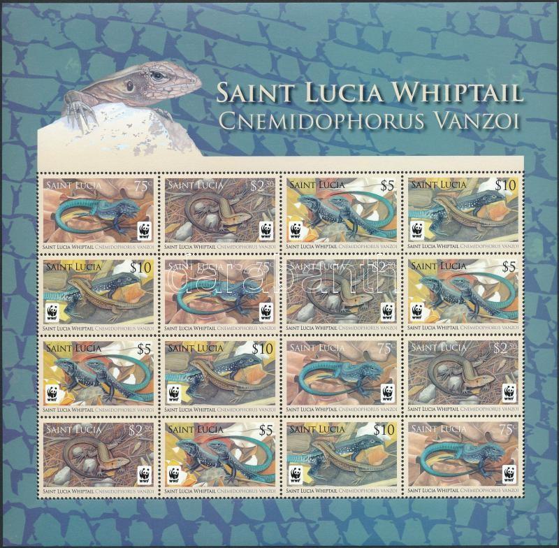 WWF Amphibia 4 mini sheets with 4 stripes of 4, WWF Kétéltűek 4 db négyescsíkot tartalmazó kisív