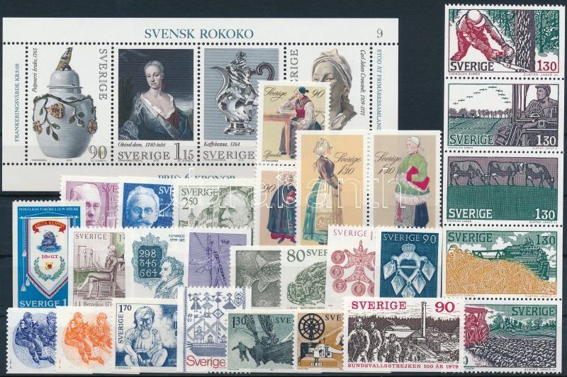 Almost complete year, 27 stamps + block, Csaknem teljes évfolyam kiadásai, 27 db bélyeg, közte teljes sorok, összefüggések + blokk