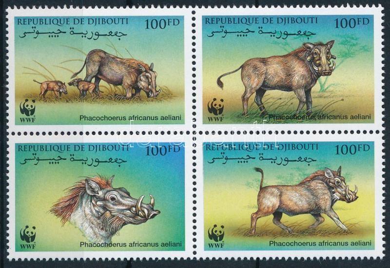 WWF Wild boar set block of 4, WWF vaddisznó sor négyestömbben