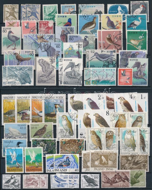 Birds 79 stamps, Madár motívum 79 db bélyeg 2 stecklapon