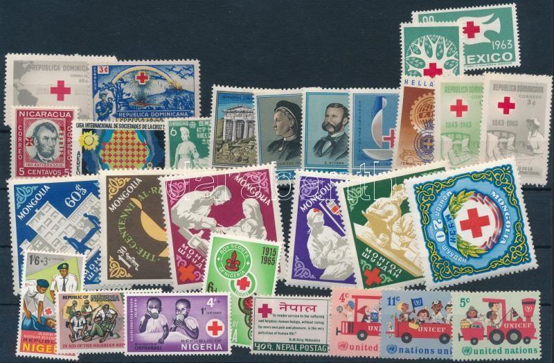 1943-1969 Vöröskereszt motívum 28 klf bélyeg, 1943-1969 Red Cross 28 stamps