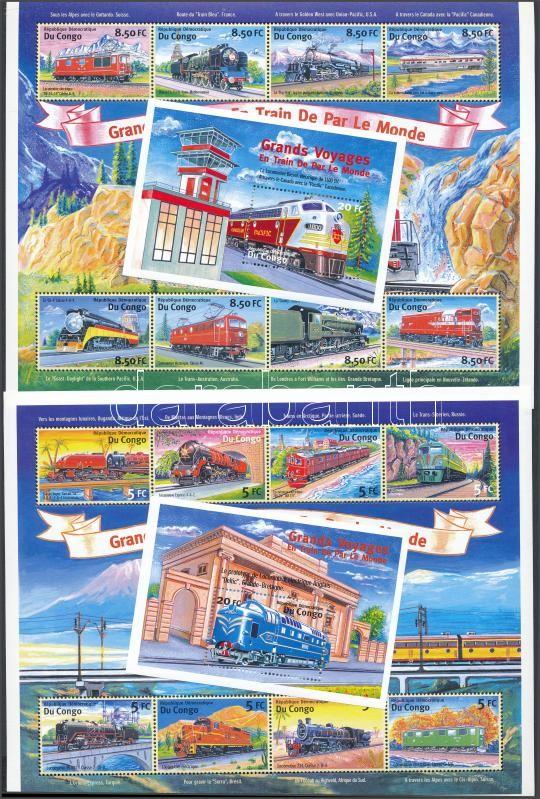 Locomotives mini sheet set + blockset, Mozdonyok kísívsor + blokksor